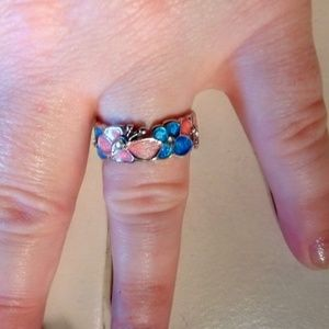 Stainless steel ring w pink and blue enamel inlaid